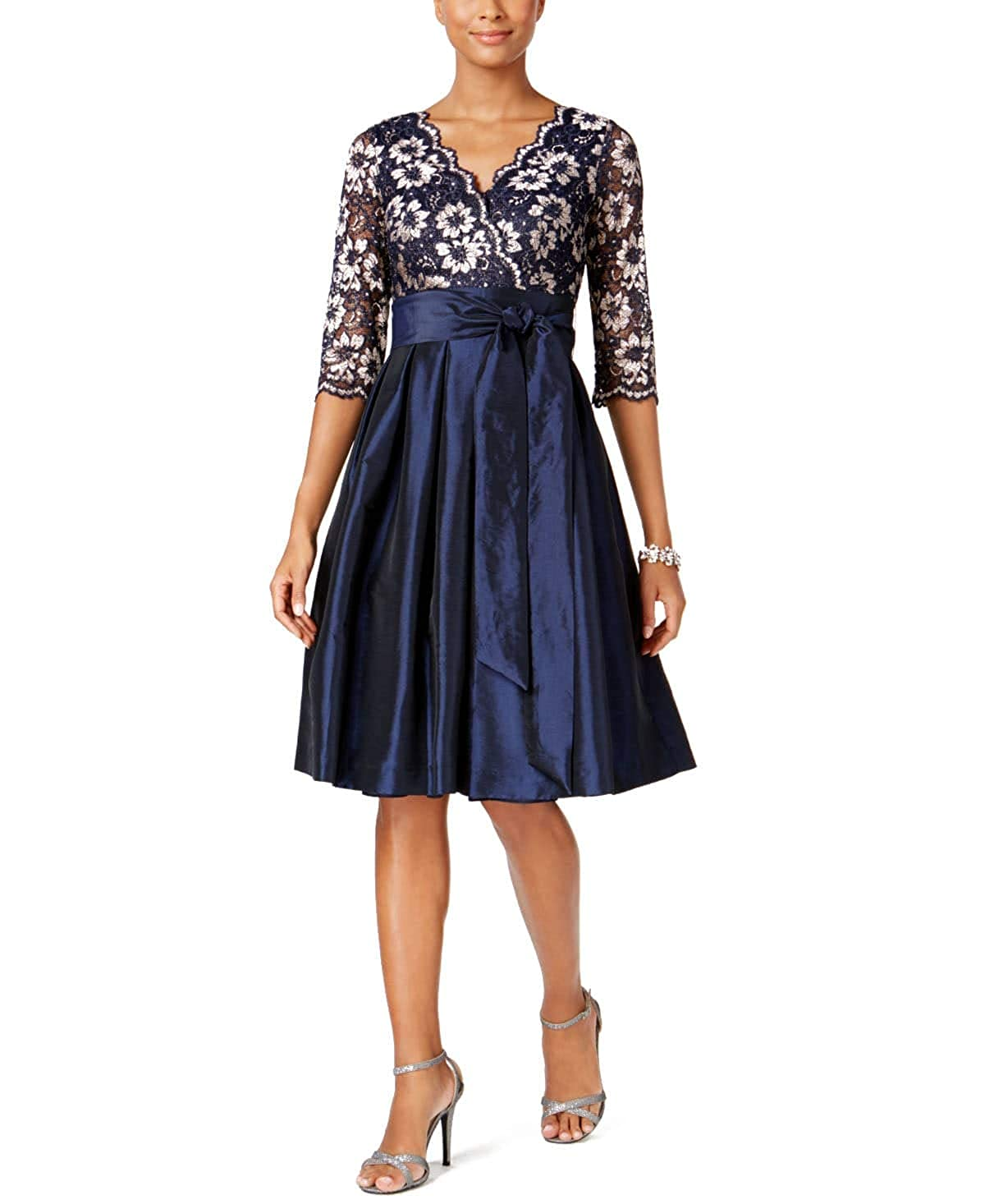 f6270165f06b7 Jessica Howard Womens Lace Taffeta Fit & Flare Dress Navy/Tan 12 at Amazon  Women's Clothing store: