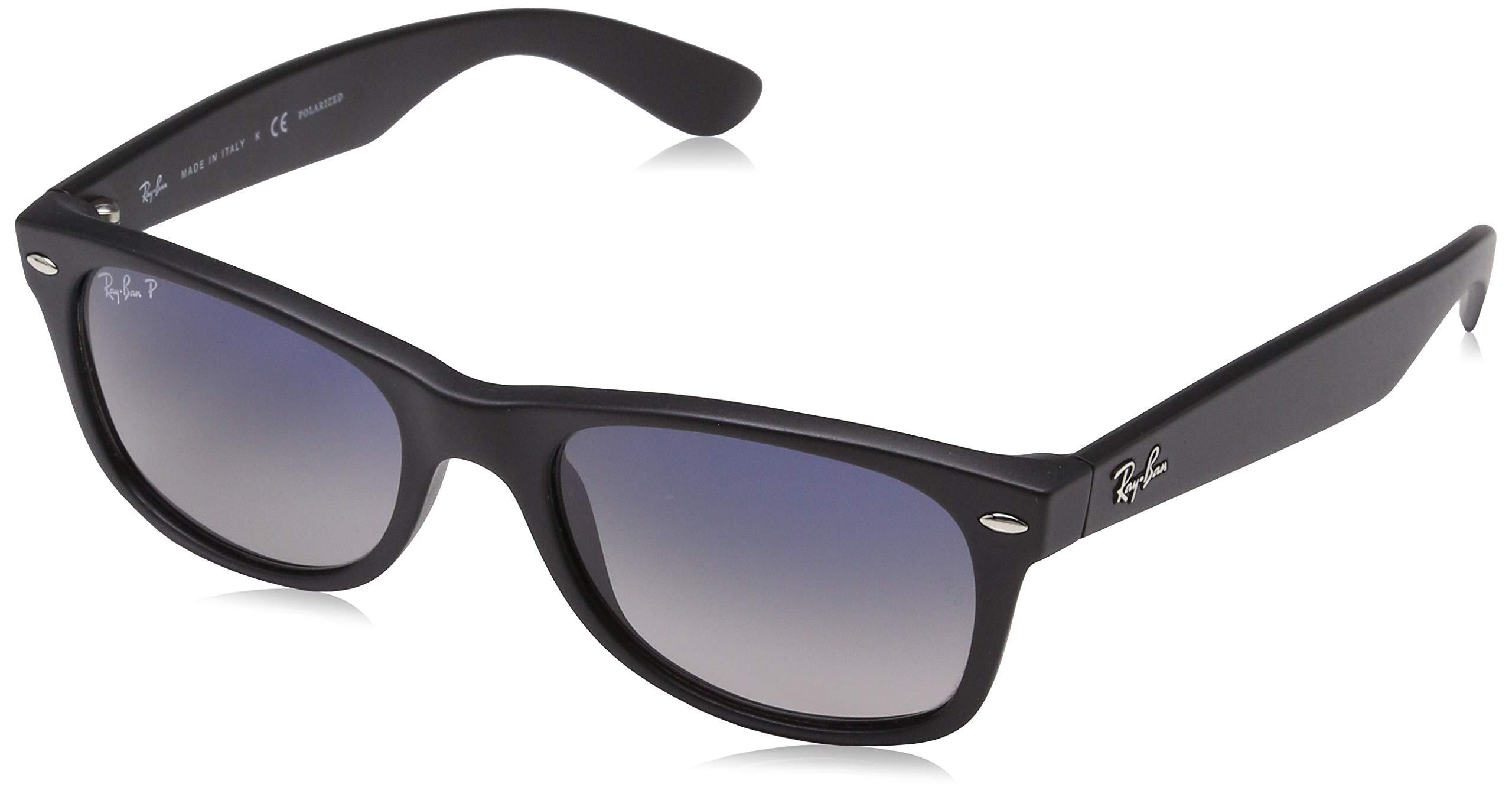 Ray-Ban Unisex New Wayfarer Polarized Sunglasses, Black/Polarized Blue/Grey Gradient, Blue Gradient Grey, 55mm by RAY-BAN