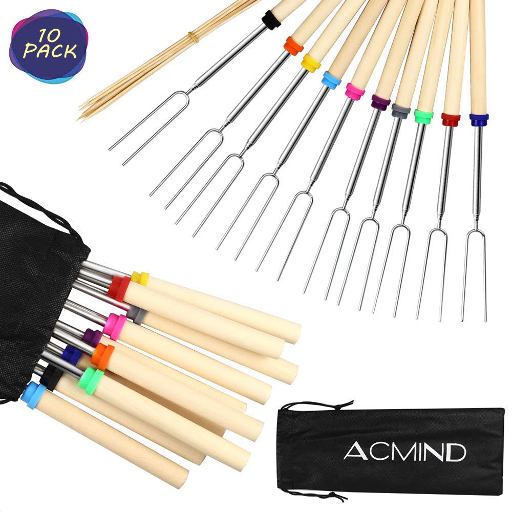 Acmind Marshmallow Roasting Sticks 32 Inch,10 Bamboo Skewers,Kids Camping Accessories for Campfire Fire Pit Cooking,Hot Dog Extending Stainless Steel Fork,Set of 10 by Acmind