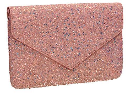 Pink Glitter Ladies Prom Clutch SWANKYSWANS Wedding Bag Slim Zuri Envelope Womens Party 5ZPaqZ