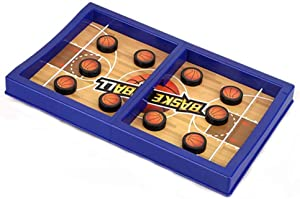 Fast Sling Puck Game PVC Slingshot Board Games Toy PVC Football Board Games Toys for Kids & Adults,2 Player Board Games (Blue)