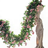 2PCS(6FT) Fake Baby Rose Vine Garland Artificial Flowers plants for Hotel Wedding Home Party Garden Craft Art Decor (Pink)