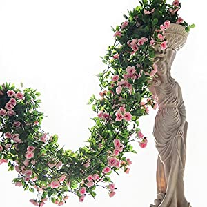 2PCS(6FT) Fake Baby Rose Vine Garland Artificial Flowers plants for Hotel Wedding Home Party Garden Craft Art Decor (Pink) 3