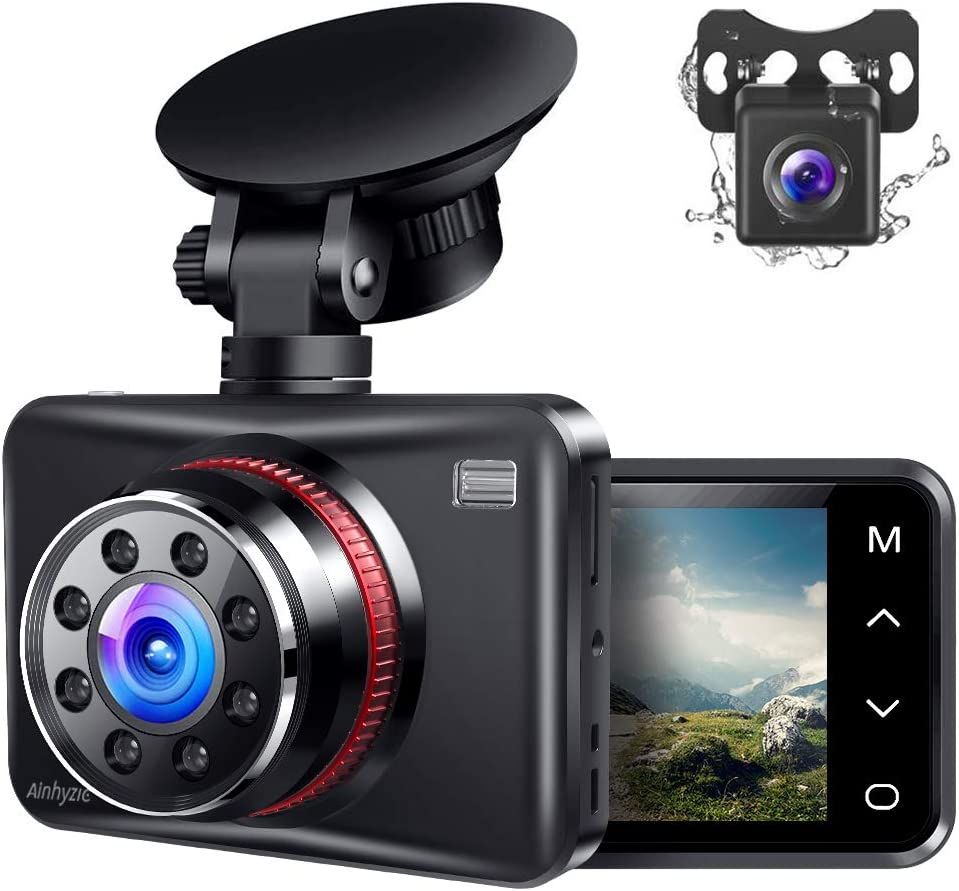 Ainhyzic Dash Cam Front and Rear Dual Car Dash Camera 2.7'' Touch Button 1080P Driving Recorder with 170° Wide Angle, Infrared Night Vision, Motion Detection, G-Sensor, Loop Recording, Parking Monitor