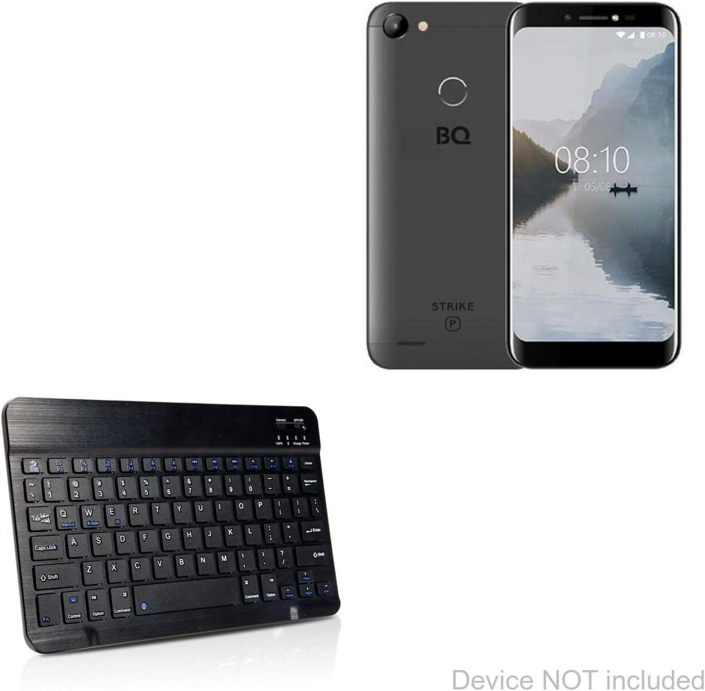 SlimKeys Bluetooth Keyboard BoxWave BQ Mobile BQ-5514G Strike Power Keyboard Jet Black Portable Keyboard with Integrated Commands for BQ Mobile BQ-5514G Strike Power