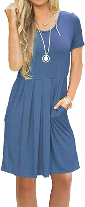 Women's Short Sleeve Pleated Loose Swing Casual Dress