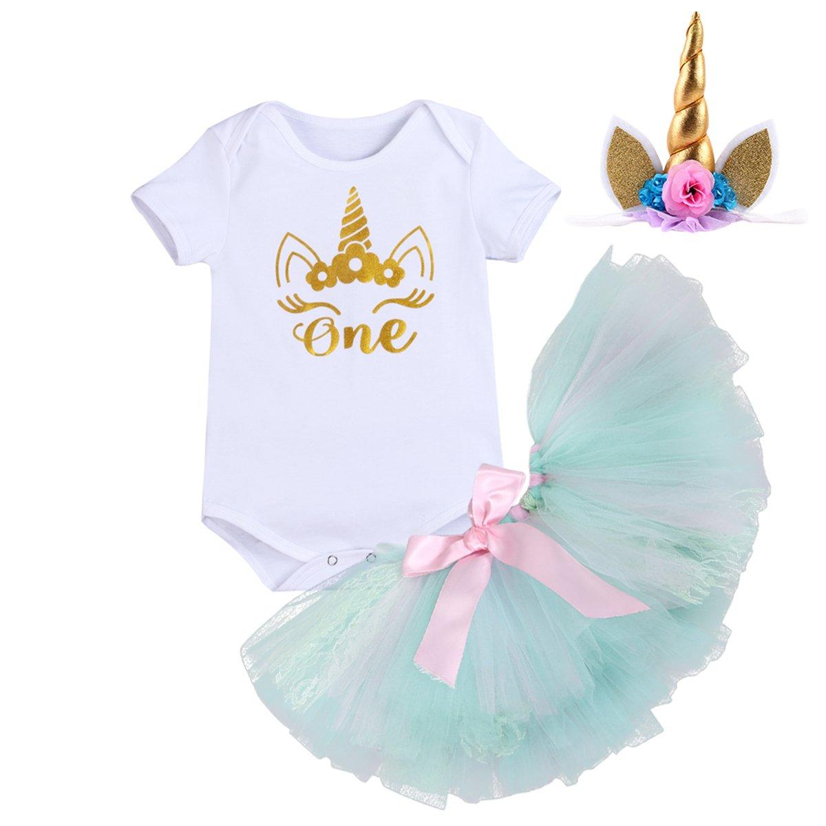 IBTOM CASTLE Baby Girl It's My 1st Birthday 3PCs Outfits Flower Princess Clothes Set