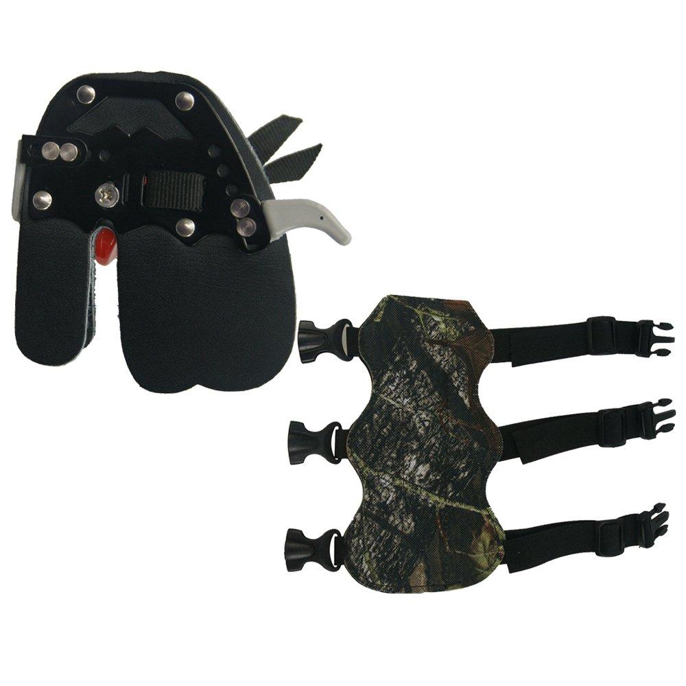 Tiro con arco dedo protector de dedos de piel Tab guardia y protector de brazo compuesto caza con arco derecho mano Tongtu Outdoor