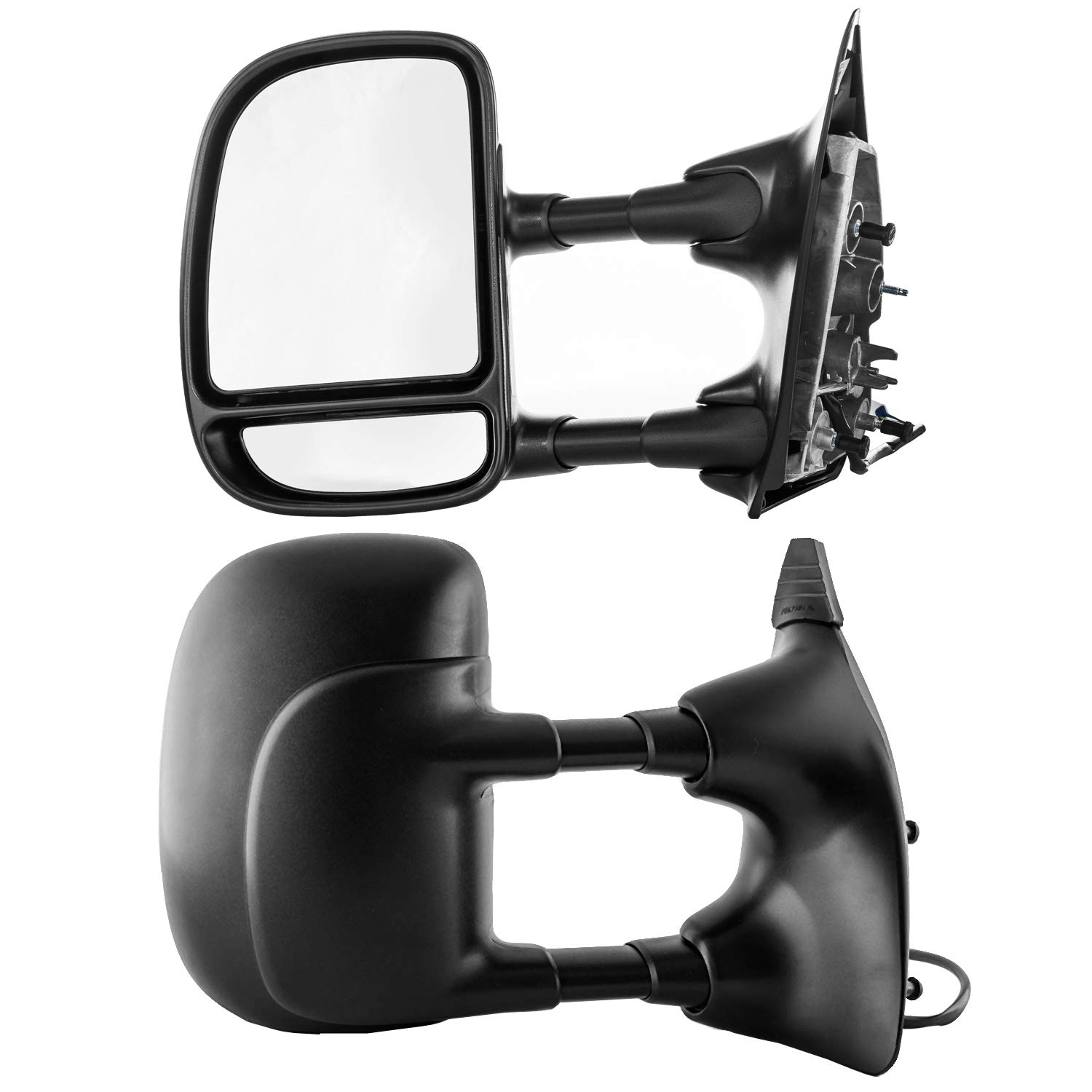 Driver and Passenger Side Towing Mirrors for Ford Super Duty F-250, F-350 (1999 2000 2001 2002 2003) Textured Non-Heated Power Adjustment Folding Telescopic Door Rear View Replacement FO1321196