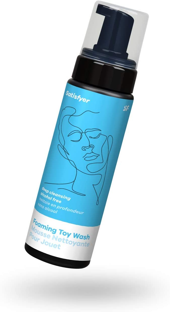 Satisfyer - Limpiador de juguetes espumoso para hombre, sin alcohol, limpieza profunda, apto para goma y silicona, higiénico, 7.5 onzas Botella