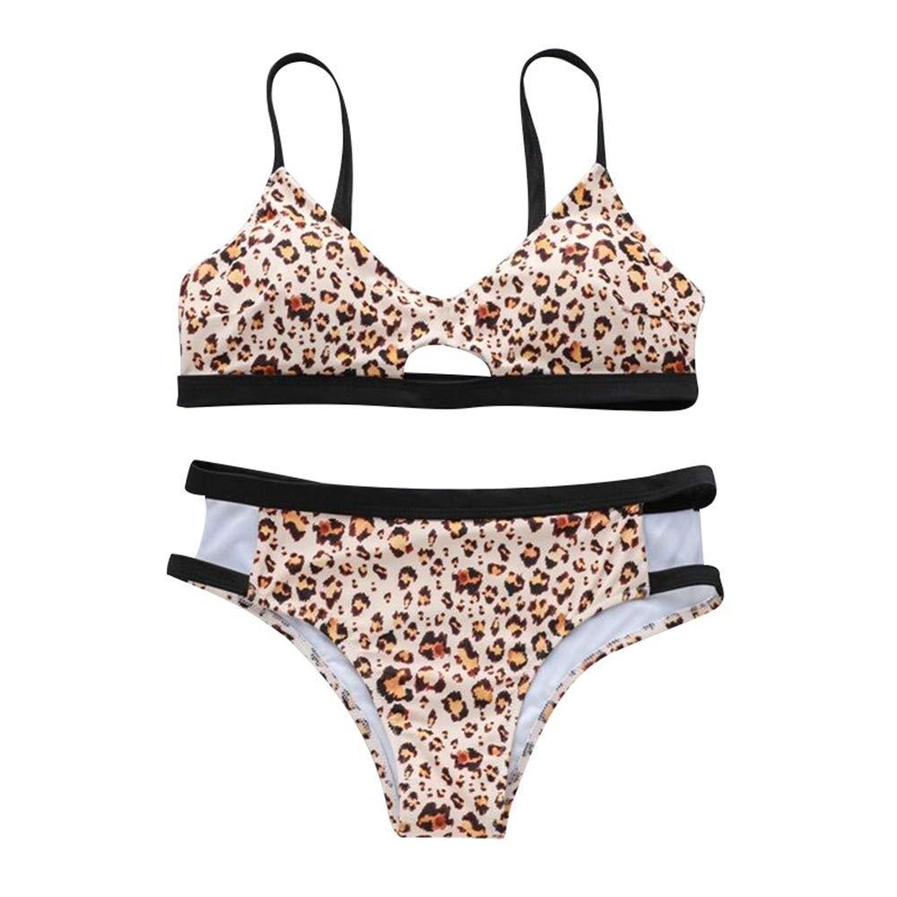 grand PGSuperBig Bikini - Maillot de Bain Femme Sexy Bikini Maillot de Bain Bikini Leopard Split - Bikini 8769 (Taille   L)