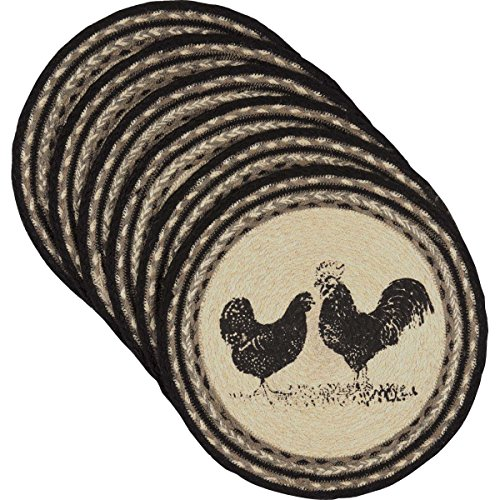 VHC Brands Farmhouse Tabletop Kitchen Miller Farm Charcoal Poultry Jute Stenciled Nature Print Round Tablemat Set of 6, One Size, Bleached - Placemats Home Decor