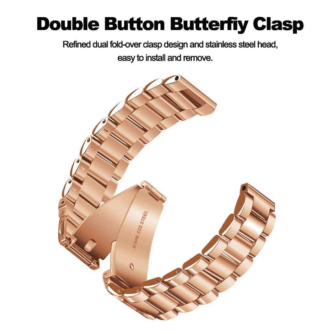 CAGOS Compatible Galaxy Watch 42mm/Galaxy Watch Active Bands Sets, 20mm 2 Pack Stainless Steel Band+Milanese Loop Mesh Bracelet for Samsung Galaxy Watch 42mm /Ticwatch E Smartwatch - Rose Gold by CAGOS (Image #5)