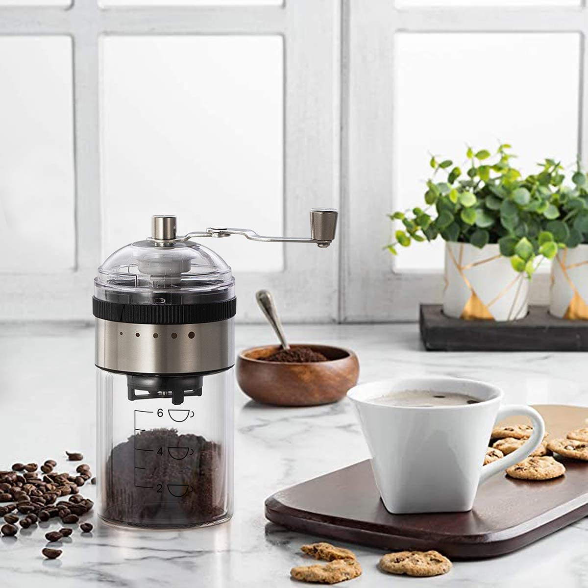 Manual Coffee Grinder,BuLanqi with Adjustable Setting Conical Ceramic Burr Mill,Whole Bean Burr Coffee Grinder,Portable Hand Coffee Mill,for Drip coffee Hand coffee,American coffee,Espresso