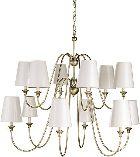 Currey and Company 9289 12 Light Orion Chandelier, Silver Leaf Finish