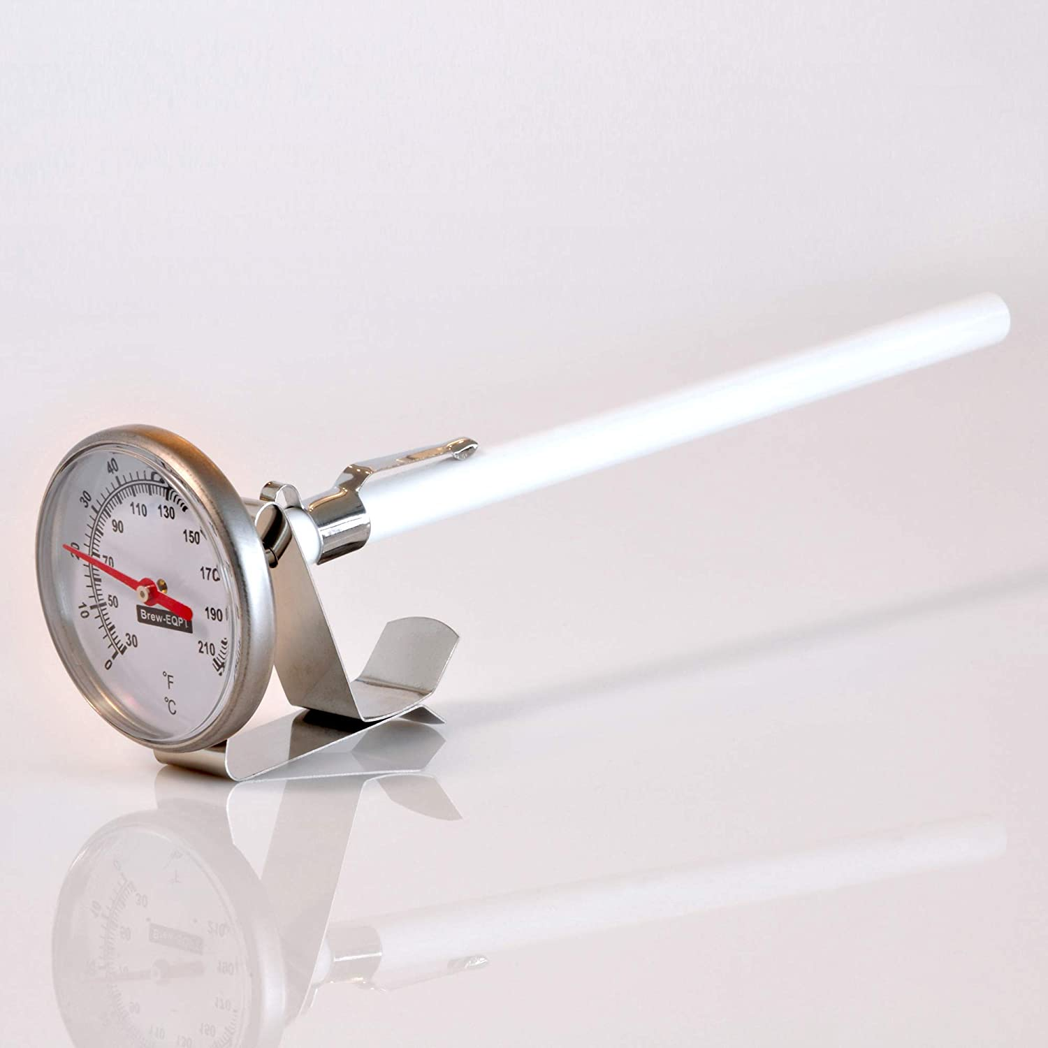 Kitchen Thermometer with Stainless Steel Probe and Clip for Meat, Milk Froth, or Homebrewing - 6 inch