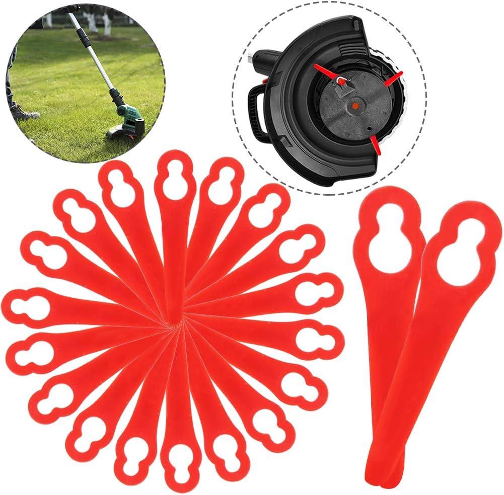 BETOY Cuchillas de Plástico, Cuchillas DE Recambio para GE-CT 18 Li (20 Piezas)-Desbrozadora Cuchillas cortacésped para Trim Conmutación Rápida hblades (Rojo)
