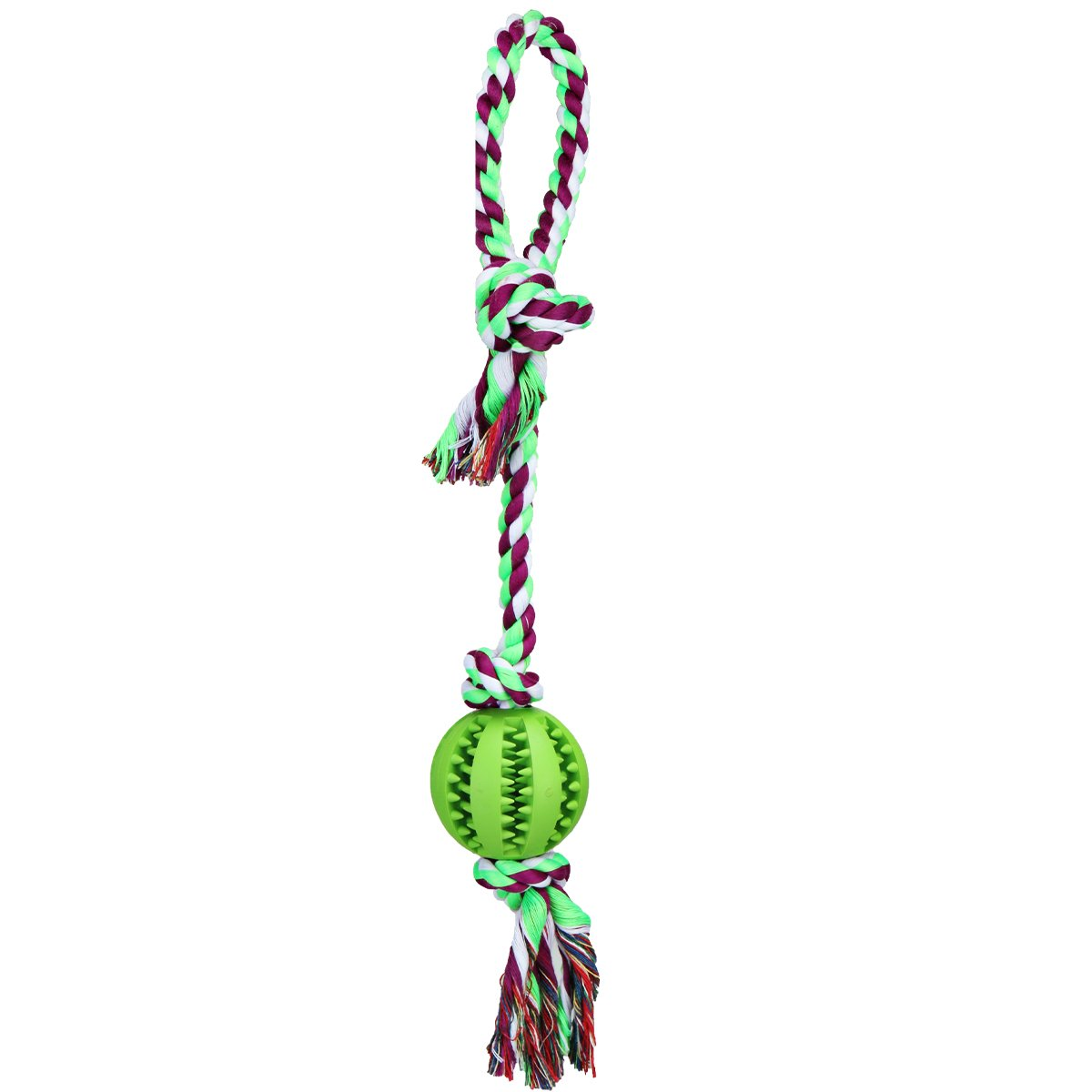 Green-9 TAILMATE Dog Chew Rope Toys with Natural Rubber Ball for Tug of War and Aggressive Chewers (Green9)