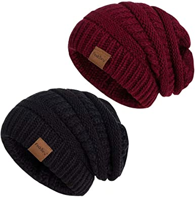 Stretchy Cuff Beanie Hat Black Skull Caps Always Be Yourself Winter Warm Knit Hats