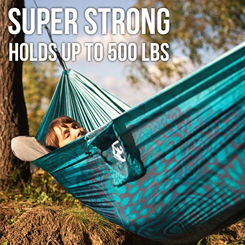 Foxelli Camping Hammock - Lightweight Parachute Nylon Portable Hammock with Tree Ropes and Carabiners, Perfect for Outdoors, Backpacking, Hiking, Camping, Travel, Beach, Backyard & Garden