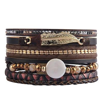 63f530c54d4 AZORA Womens Leather Cuff Bracelet Baroque Pearl Wrap Bracelets Gorgeous  Gold Tube Bangle Handmade Wristbands Jewelry Bohemian Gift for Women, Teen  Girls, ...