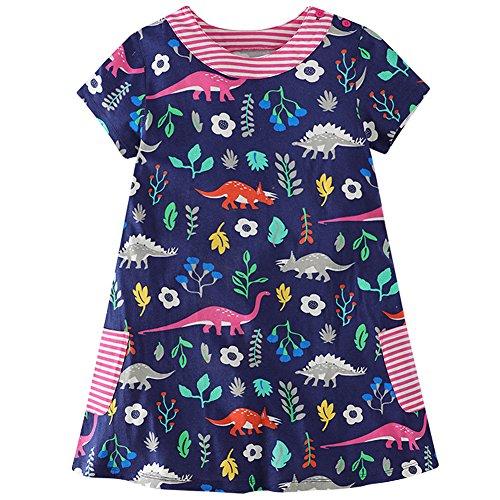 Frogwill Girls Green Dinosaur Tunic Short Sleeve Summer Casual Dress 2-7T (3T, Navy) from Frogwill