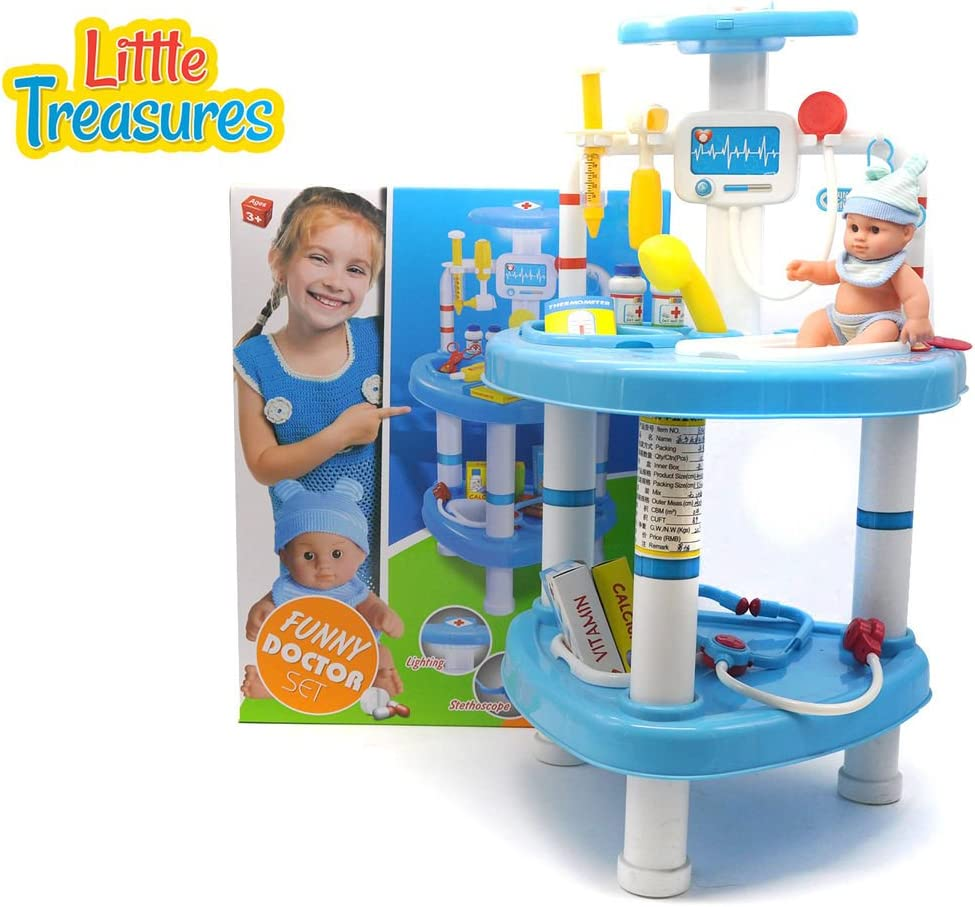 Little Treasures Educational Children/'s Doctor Set from Complete with Medical Station 33 Pieces Play Set for Children 3+ Medical Instruments Supplies and Baby Doll