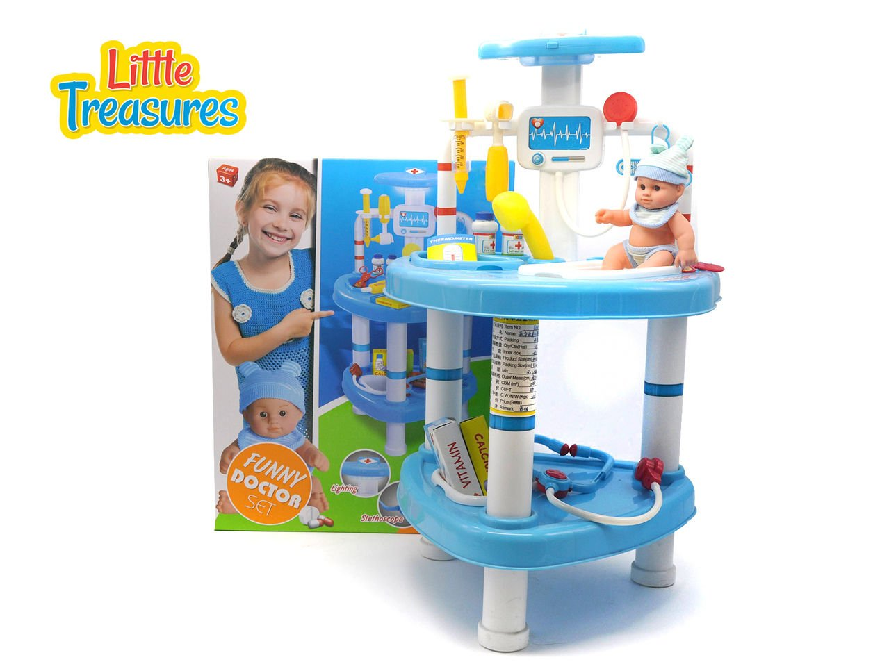 Little Treasures Educational Children's Doctor Set from Complete with Medical Station, Medical Instruments, Supplies, and Baby Doll - 33 Pieces Play Set for Children 3+