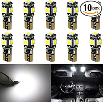 10*Xenon White LED Error Free Canbus 5SMD Side Wedge Lights Bulb T10 194 168 W5W
