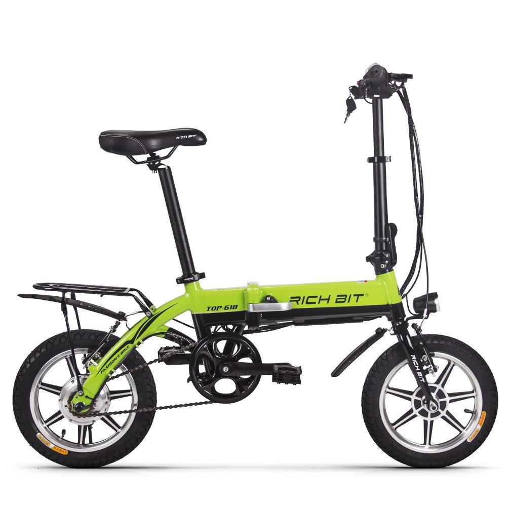 RICH BIT ミニ電動アシスト自転車  4インチタイヤ  折りたたみ アルミ合金フレーム マッドガード リアラケット レッド B06Y3WR6TM