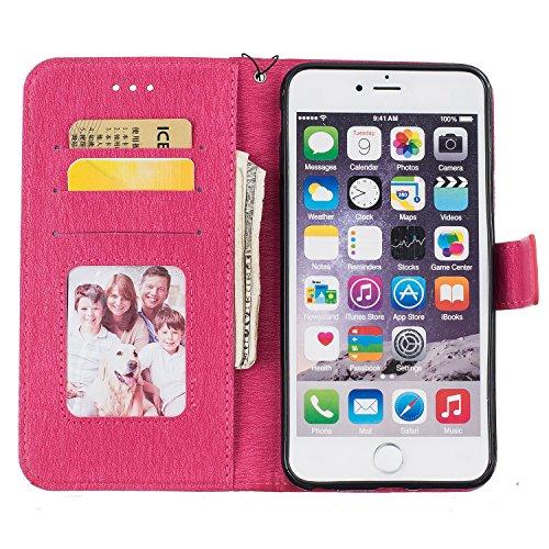 iPhone 6/6S 4.7 Zoll Funda de Cuero PU (Con Gratis Pantalla Protector) KaseHom Elegante MariposaFlorÁrbolRetroPatrónEstilo de LibroBilleteraDiseñoconRanuras para Tarjetas/fotografías eCorrea Rojo Oscuro