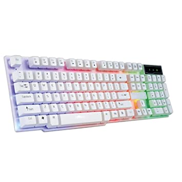 Ba Zha Hei de Colorido Crack LED Iluminado con retroiluminación USB cableado Teclado de Juegos de