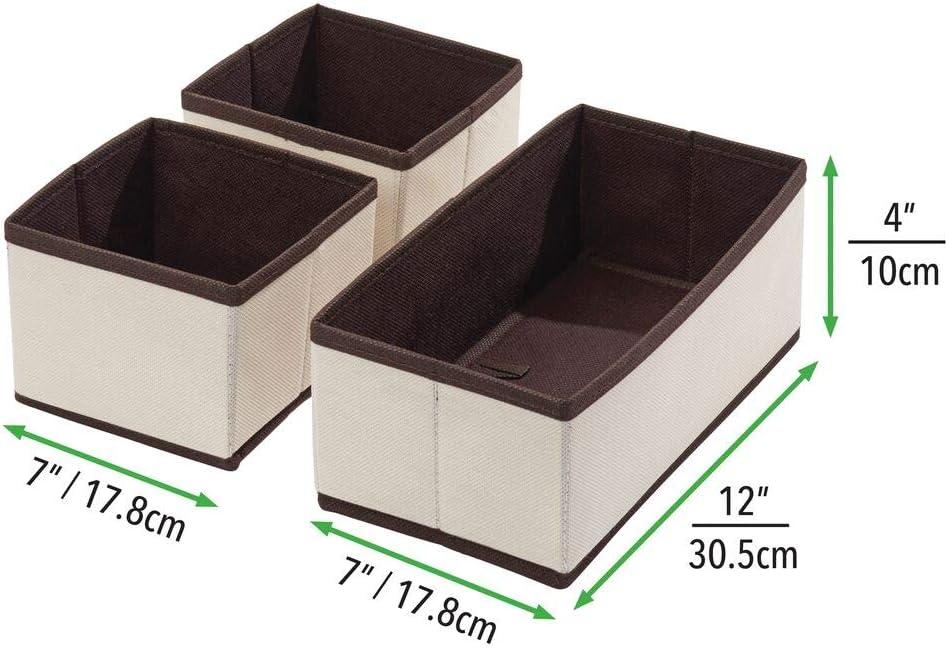 Box de Rangement en 2 Tailles diff/érentes pour Chambres de b/éb/é Couleur cr/ème//Marron Set de 3 corbeilles de Rangement en Fibre synth/étique et Design Attrayant mDesign Boite de Rangement