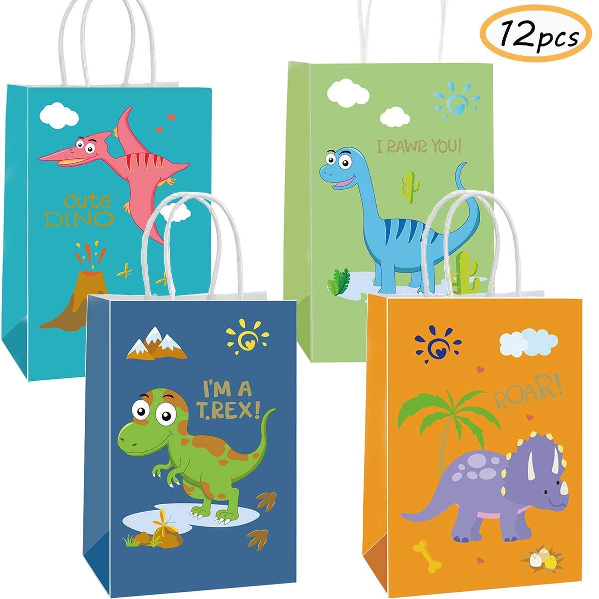 Funnlot Dinosaur Party Bags Dino Gift Bags Dinosaur Goodies Bags Dino Kids Birthday T-Rex Roar Party Supplies (12 pcs Dinosaur Gift Bags)