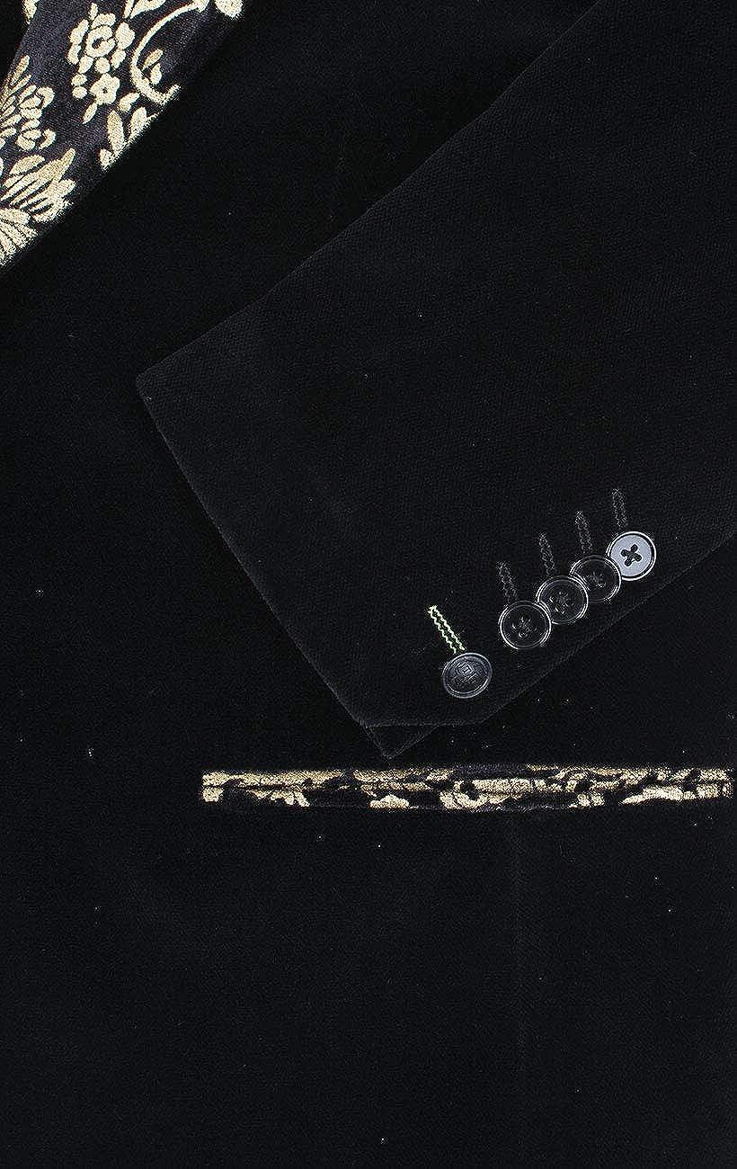 Twisted Tailor Mens Black Velvet Jacket Skinny Fit Contrast Gold Floral Lapel