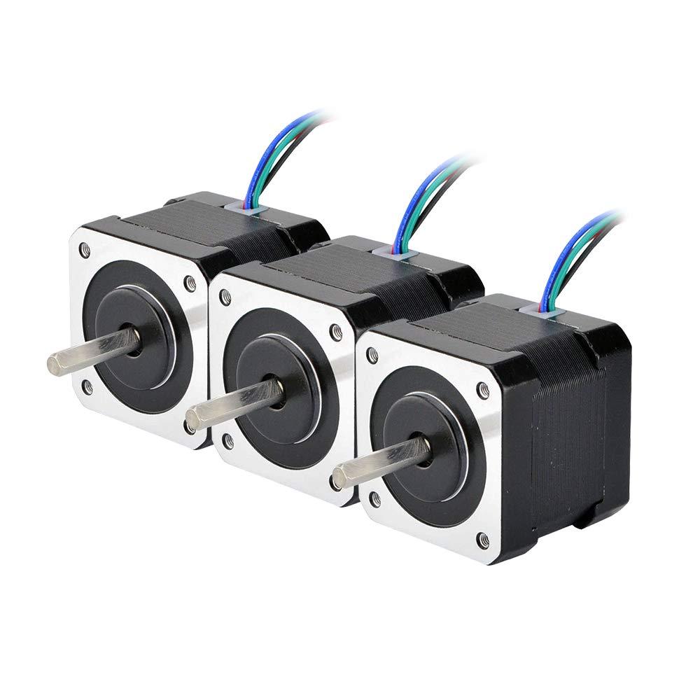 STEPPERONLINE 3 Stück 45Ncm Nema 17 Schrittmotor 2A 4-Draht w/ 1m Kabel & Verbinder für 3D Drucker DIY CNC