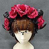 Steampunk Sheep Horn Rose Flower Headband Gothic Beauty Devil Horns Halloween Black Lace VintageHair Accessories (Red-03)