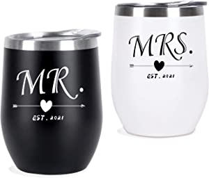 Mr and Mrs EST 2021 Wine Tumbler Set of 2, Engagement Wedding Bridal Shower Gift for Couples Bride and Groom Anniversary Newlywed His or Her, 12 Oz Insulated Stainless Steel Tumbler