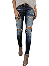 Nimpansa Women Jeans Denim Pant Ripped Distressed Destroyed Skinny Stretchy
