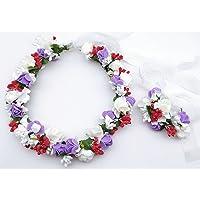 WYZ &Tocado de Flor de Corona Corona de Flores, Cinta de la Flor Guirnalda Mano de la Novia de la Boda Partido de la…