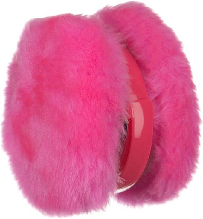 NEW GENUINE NEON PINK FOX FUR EARMUFFS  one size fits all