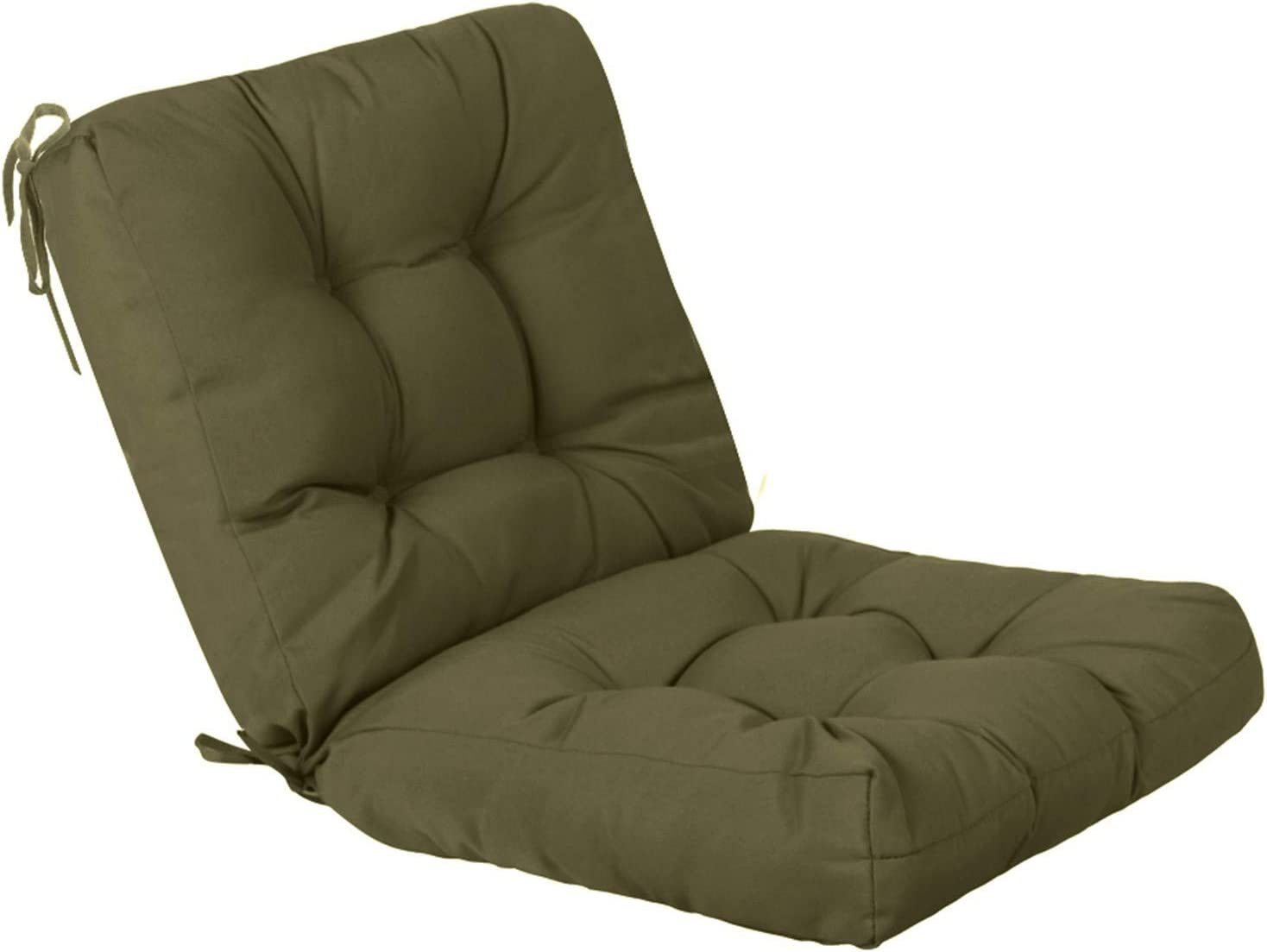 QILLOWAY Outdoor Seat/Back Chair Cushion Tufted Pillow , Spring/Summer Seasonal All Weather Replacement Cushions. (SAGE)