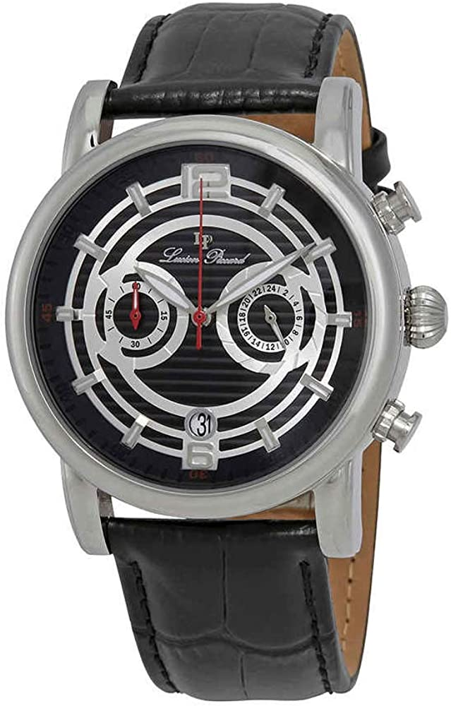 Lucien Piccard Men s LP-14084-01 Stainless Steel Watch with Black Leather Band