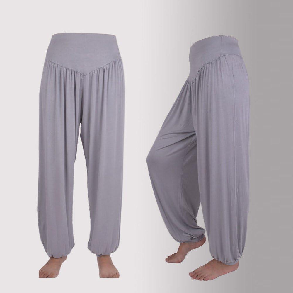 TIMEMEAN Damen Hosen Lang Elastisch Baumwolle Weich Sport Tanzen Beil/äufig Lose Yoga Haremshose