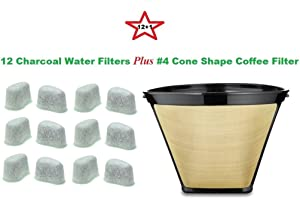 #4 Cone Shape Permanent Coffee Filter & a set of 12 Charcoal Water Filters for Krups Coffeemakers
