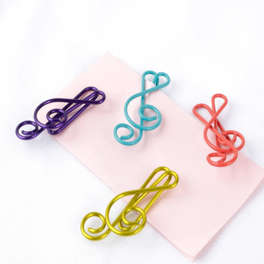Haidong 20Pcs Metal Creative Musical Notes Style Cute Paper Clips Assorted Colors