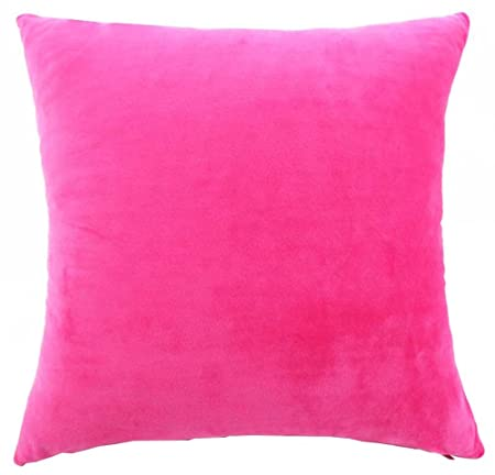 YJBear Solid Candy Color Pillow with Insert Soft Short Plush Cushion Filler Back Cushion Home Decor with Invisible Zipper Rose Red 16