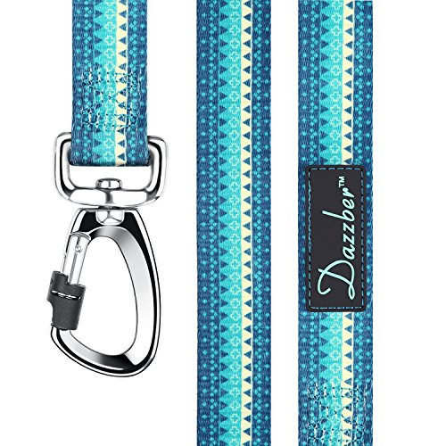 Dazzber Soft & Comfy Geometric Lines Heavy Duty Dog Leash, 5 FT Long, Turquoise Green, Dog Traction Rope, Dog Training Walking Leashes for Small Medium Dogs