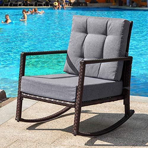 Cushioned Rattan Rocker Armchair Outdoor Patio Wicker Rocking Chair(Grey Cushion)