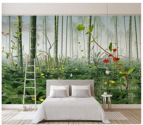 3D Wallpaper Mural Modern Minimalist Lotus Bamboo Forest Landscape Chinese Style Wall Silk Cloth Material Ayzr